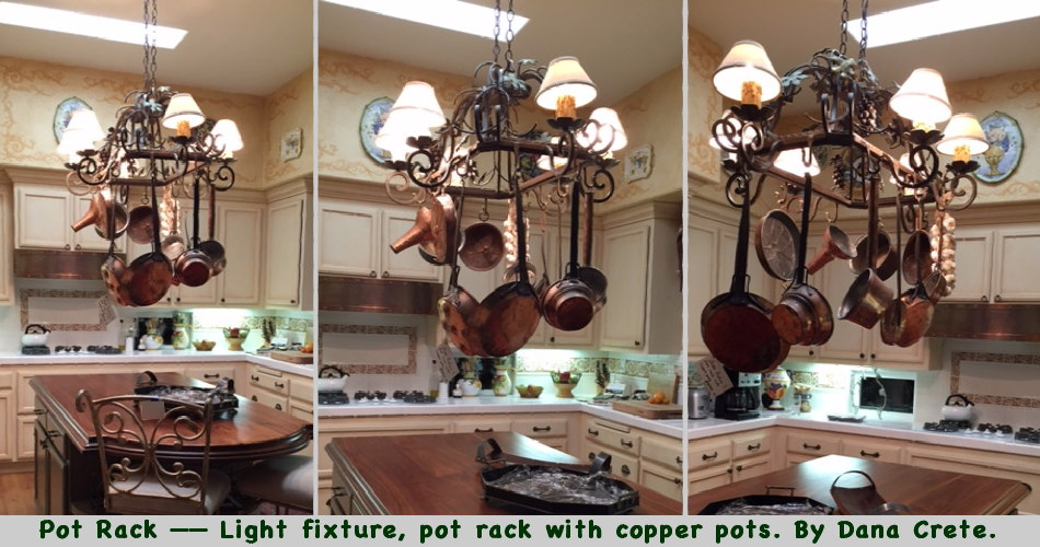 Pot Rack —— Light fixture, pot rack with copper pots. By Dana Crete