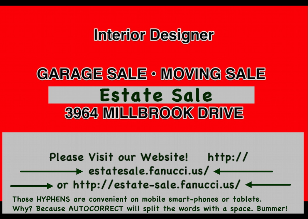 3964 Millbrook SALE -- Card 3.5x2.5 roughly bizcard+