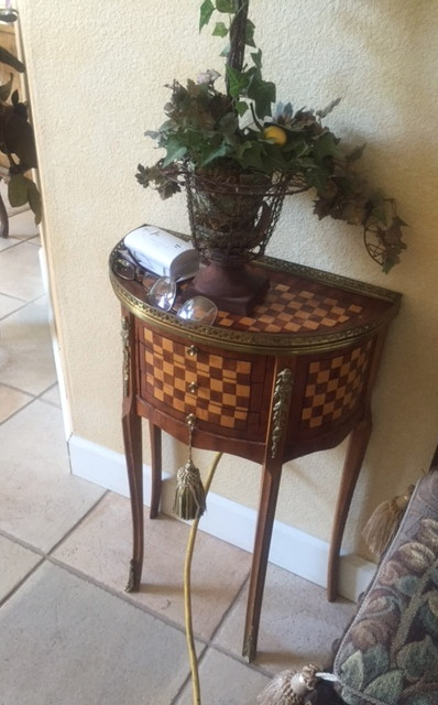 small-table-crescent-shape-decor-drawers-wood-inlay-checkerboard