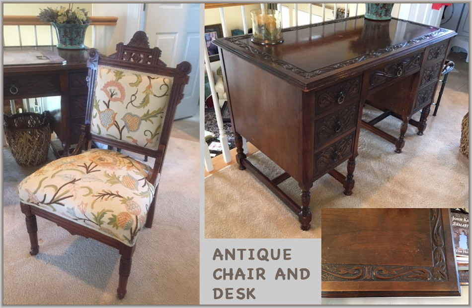 Antique Eastlake Chair and Spanish Walnut Desk